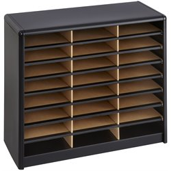Safco 24 Compartment Value Sorter Metal Flat Files Organizer in Black