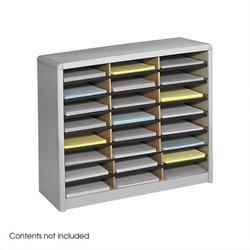 24 Compartment Flat Files Metal Organizer in Gray