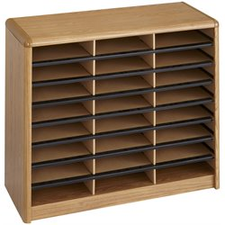 24 Compartment WoodFlat Files Organizer in Medium Oak