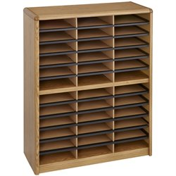 36 Compartment Metal File Organizer in Medium Oak