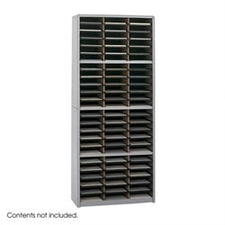 72 Compartment Metal Flat Files Vertical Organizer in Gray