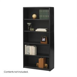 Safco ValueMate 5 Shelf Economy Steel Bookcase in Black