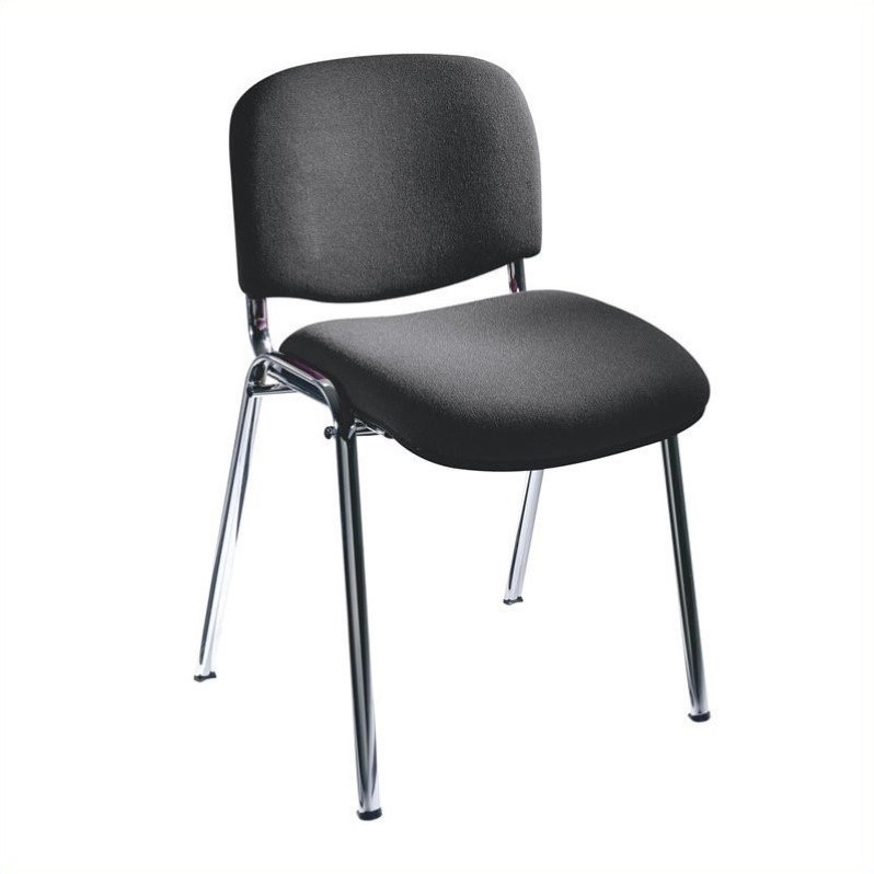 Safco Workspace Visit Upholstered Black Stacking Chair (Set of 2)