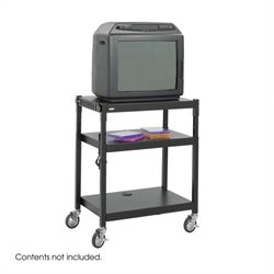 Safco Black Steel Adjustable Height Mobile Media Cart in Black
