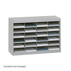 Safco E-Z Stor Grey Mail Organizer -  24 Letter Size Compartments