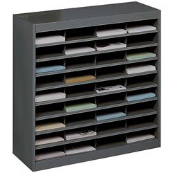 Safco E-Z Stor Black Mail Organizer -  36 Letter Size Compartments