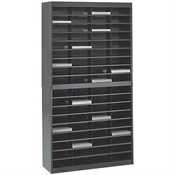 Safco E-Z Stor Black Mail Organizer -  72 Letter Size Compartments