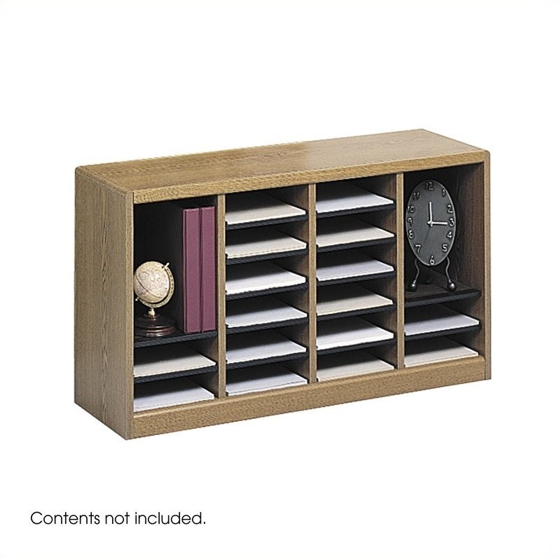 Safco E-Z Stor Medium Oak Wood Mail Organizer -  24 Compartments