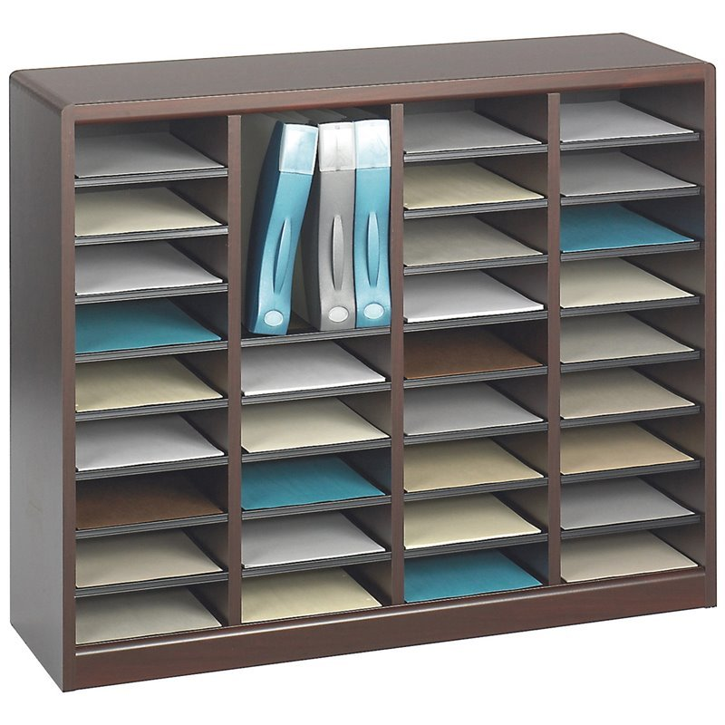 Safco E-Z Stor Mahogany Wood Mail Organizer -  36 Compartments