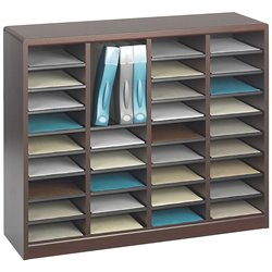 Mahogany Wood Mail Organizer - 36 Compartments