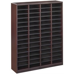 Mahogany Wood Mail Organizer - 60 Compartments