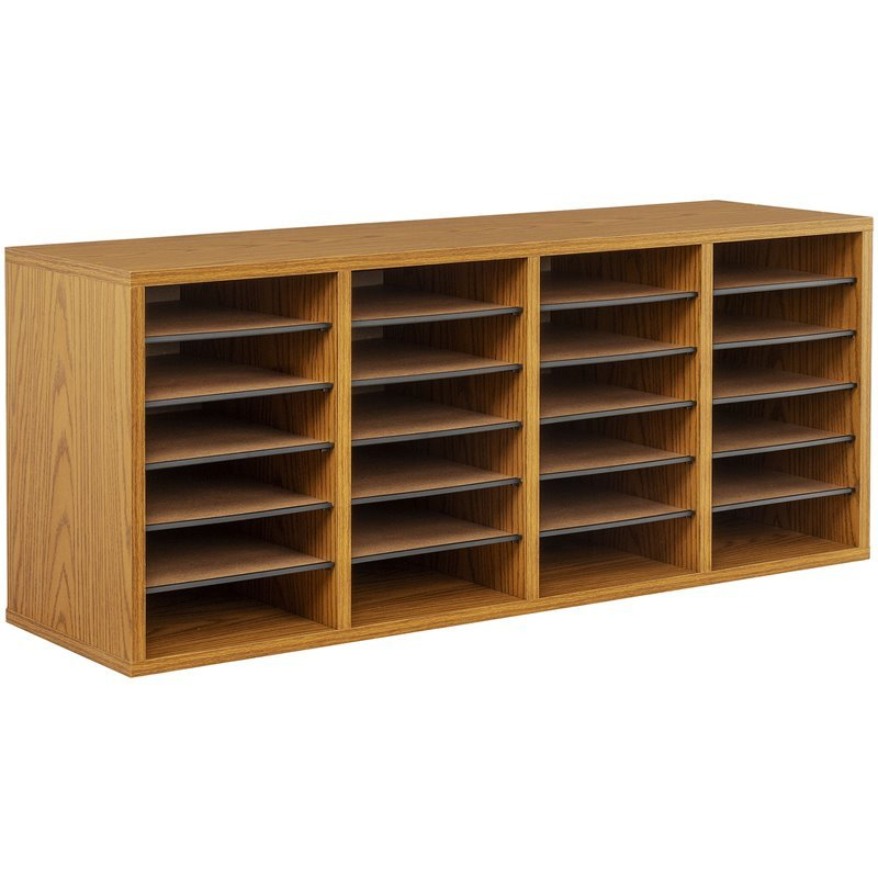 Medium Oak 24 Compartment Wood Adjustable File Organizer