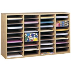 Safco Medium Oak 36 Compartment Wood Adjustable File Organizer