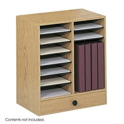 Safco Medium Oak Wood 14 Compartment File Organizer with Drawer