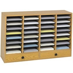 Safco Medium Oak Wood Adjustable 32 Compartment File Organizer with Drawer