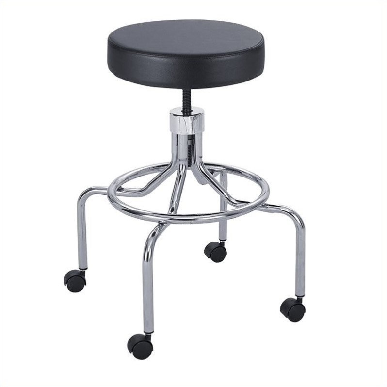 Safco Lab/Drafting Chair with High Base and Screw Lift in Black