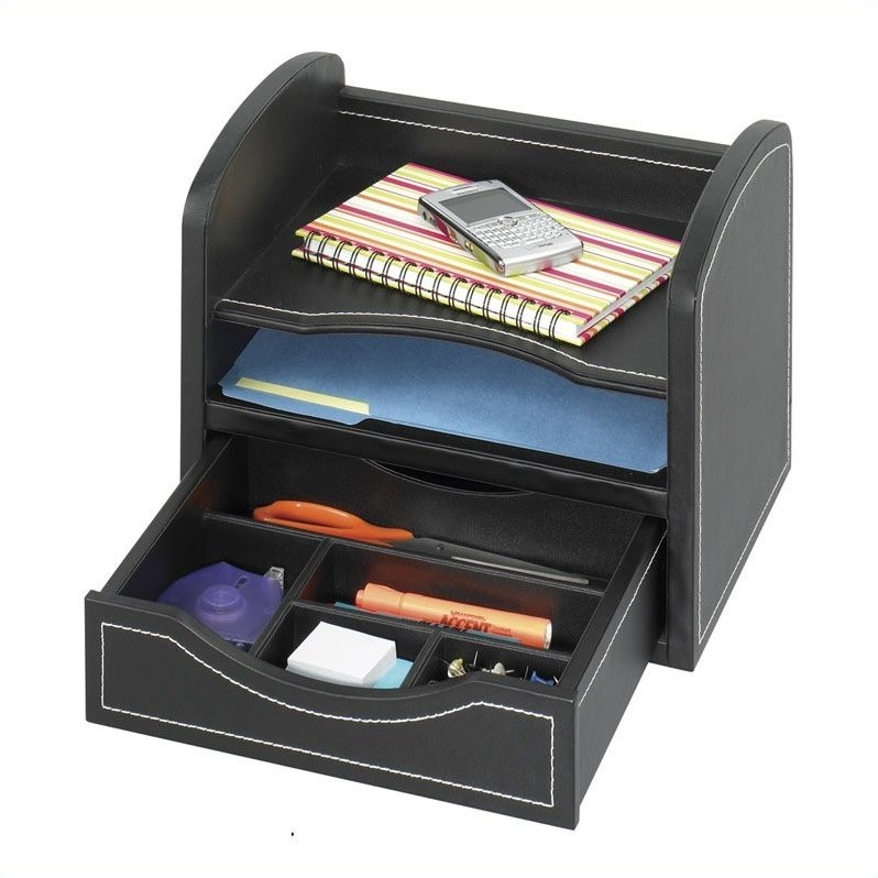 Leather look desk drawer organizer in black 9435bl - Drawer desk organizer ...