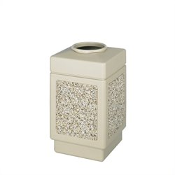 Safco Canmeleon Aggregate Panel 38 Gallon Trash Can with Open Top in Beige