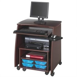 Safco Picco Computer Workstation with Duo Printer Cart in Mahogany