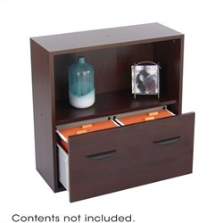 Safco Apres Modular Storage Shelf with Lower File Drawer in Mahogany