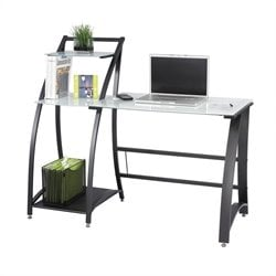 Safco Xpressions Computer Workstation with Tempered Glass in Black