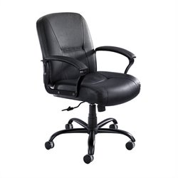Safco Serenity™ Mid Back Big and Tall Office Chair in Black Leather