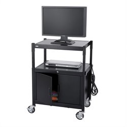 Safco Steel Adjustable AV Cart With Cabinet in Black