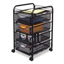 Mesh File Cart with 4 Drawers in Black