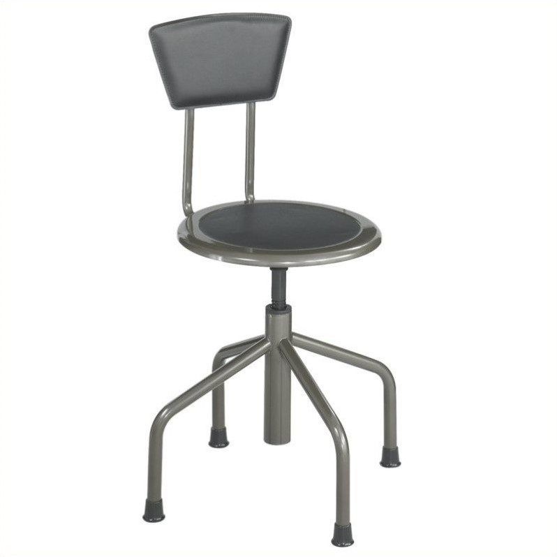 Stool Low Base with Back in Pewter
