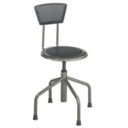 Safco Diesel Stool Low Base with Back in Pewter