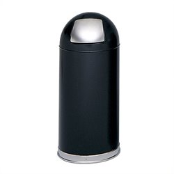 Safco Black Push Door Dome Top Receptacle in Black