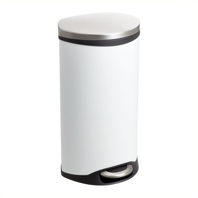 Step-On Receptacle - 7.5 Gallon in White