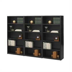 5 Shelf Wall Economy Steel Bookcase in Black