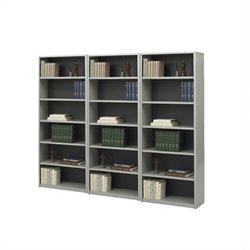 Standard 6 Shelf Economy Steel Wall Bookcase in Gray