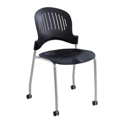 Safco Zippi Plastic Stack Stacking Chair in Black (Set of 2)