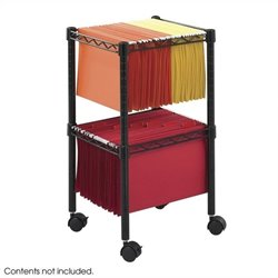 2-Tier Compact File Cart in Black