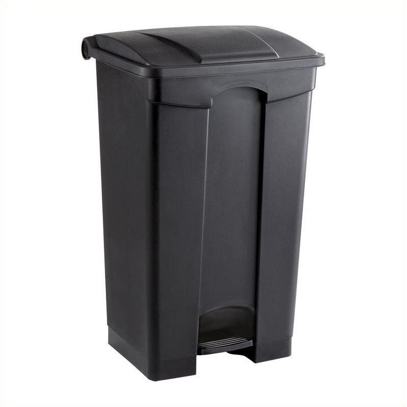 Plastic Step-On Receptacle - 23 Gallon in Black