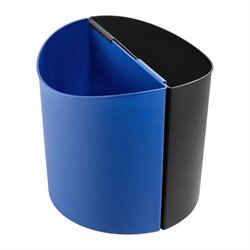 Safco Large Desk-Side Receptacle in Black & Blue