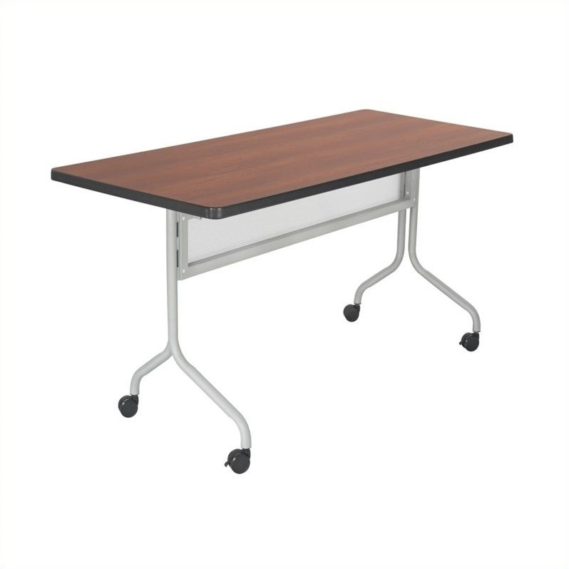 Safco Impromptu Mobile Training Table Rectangle Top 48x24 in Cherry