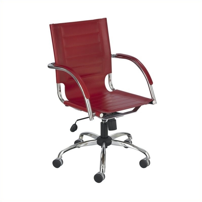 Flaunt Managers Office Chair Red Leather in Red