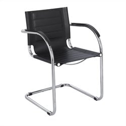 Safco Flaunt Guest Chair Black Leather in Black