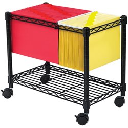 Safco Wire Mobile File Cart in Black