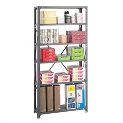 Safco 36 x 12 Commercial 6 Shelf Kit in Dark Grey Finish