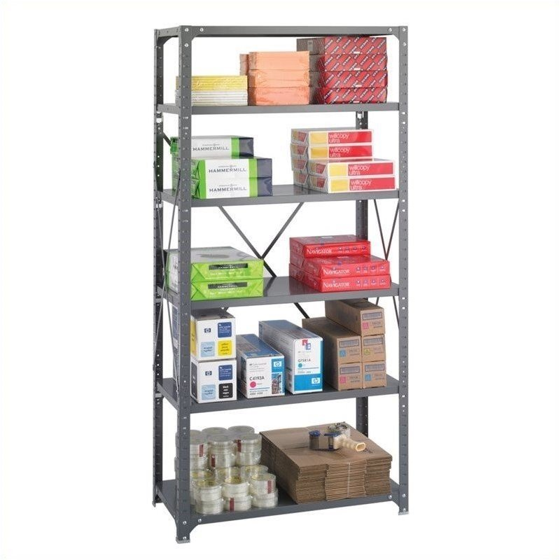 36 x 18 Commercial 6 Shelf Kit in Dark Grey Finish