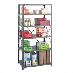 Safco 36 x 24 Commercial 6 Shelf Kit in Dark Grey Finish