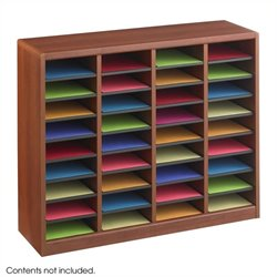 Safco E-Z Stor  36 Compartments Wood Literature Organizer in Cherry