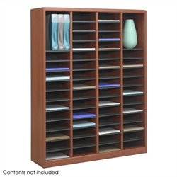 Safco E-Z Stor 60 Compartments  Wood Literature Organizer in Cherry