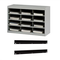 Safco E-Z Stor Steel Organizer 12 Compartments with Mount in Gray