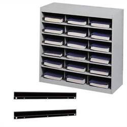 Safco E-Z Stor Steel Organizer 18 Compartments with Mount in Gray