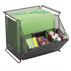 Safco Onyx Stackable Mesh Storage Bins in Black